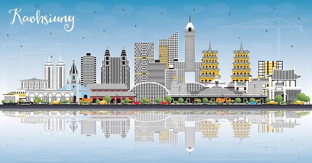 灰色の建物と高雄台湾の街のスカイライン青い空と反射ベクトル図