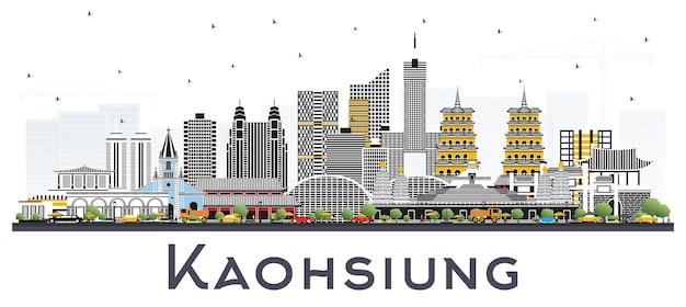 白で隔離される灰色の建物と高雄台湾の街のスカイライン。ベクトルイラスト。歴史的な建築とビジネス旅行と観光の概念。ランドマークのある高雄中国の街並み。