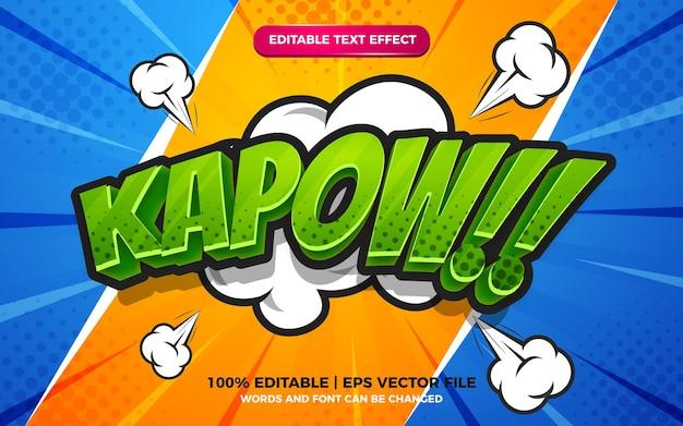 Kapow comic cartoon text effect on halftone comic background