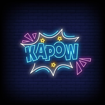 Kapow neon signs style text vector