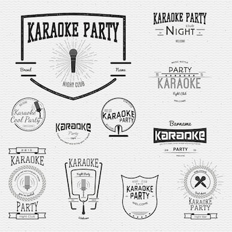 Karaoke badges logos and labels