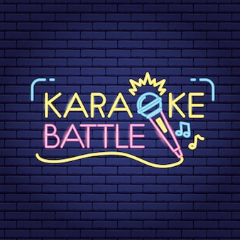 Karaoke battle in neon style with microphone and musical note