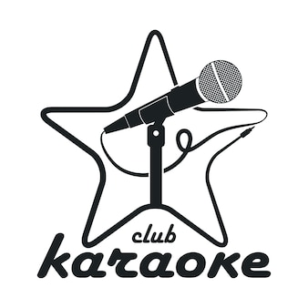 Karaoke club. design logo with microphone on stand and star. vector template for emblem.