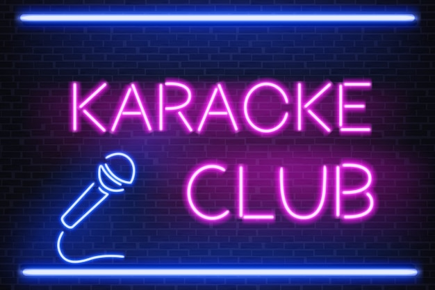 Karaoke club glowing bright neon light signboard