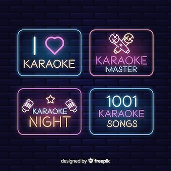 Karaoke club neon light collection
