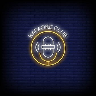 Karaoke club neon signs style text
