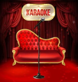 Concetto di karaoke. divano in velluto rosso con gambe dorate e microfono nero per poster
