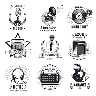 Karaoke elements monochrome vintage emblems