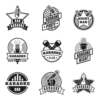 Karaoke emblems. vintage labels with microphones for music karaoke night party. retro silhouette singing club badges, mics logo vector set. entertainment in night club, audio event