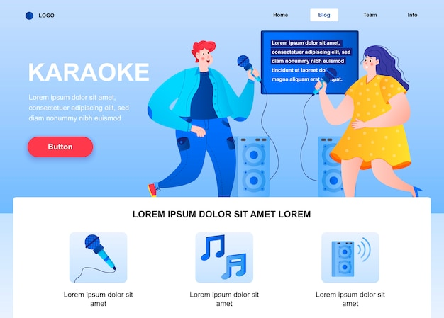 Karaoke flat landing page. happy friends singing together with microphones web page.