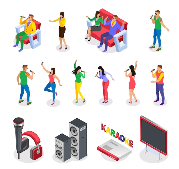 Karaoke isometric icons collection of isolated images with party people characters furniture loud speakers and text