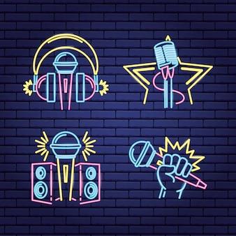 Karaoke neon style labels labels
