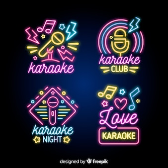 Karaoke night neon light sign collection