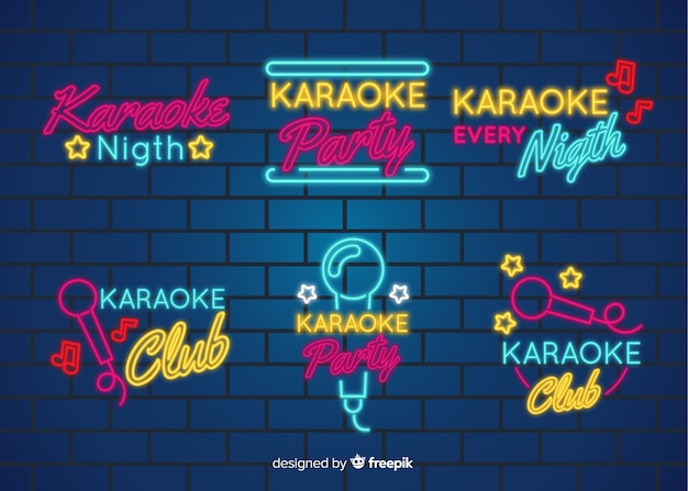 Karaoke night neon light sign collection
