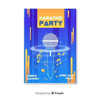 Karaoke night party poster or flyer template