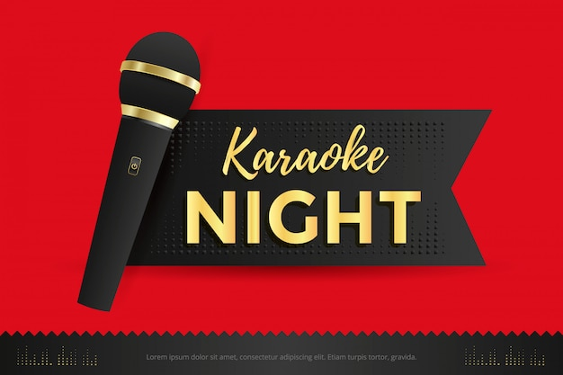 Karaoke night poster template design with black microphone.