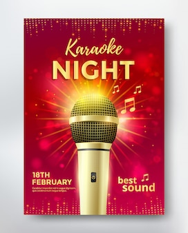 Karaoke night poster template design with golden microphone.