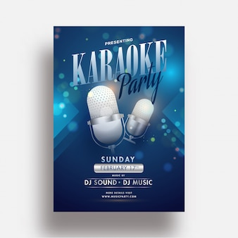 Karaoke party flyer or template design with realistic microphone