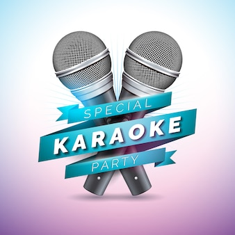 Karaoke party illustration with microphones and ribbon
