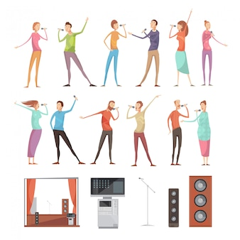 Karaoke party isolated icon set with full length singing people characters acoustics microphones tv