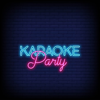 Karaoke party neon signs style text