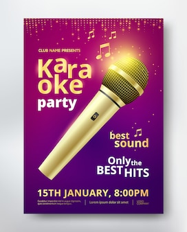 Karaoke party poster template design with golden microphone