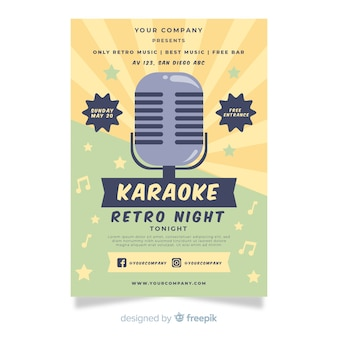 Karaoke party poster template in flat style