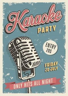 Poster vintage di festa karaoke Vettore gratuito