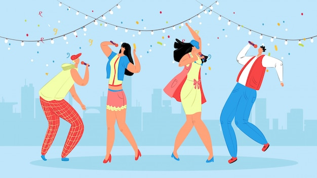 Караоке люди иллюстрация. праздничная вечеринка для молодежи. группа подростков с удовольствием танцует на сцене, поет под микрофон под прекрасную музыку. друзья проводят свободное время вместе.