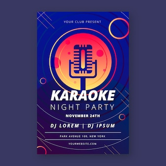 Karaoke poster for music abstract style