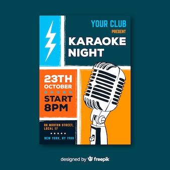 Karaoke poster template hand drawn microphone