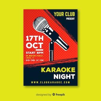 Karaoke poster template hand drawn microphone