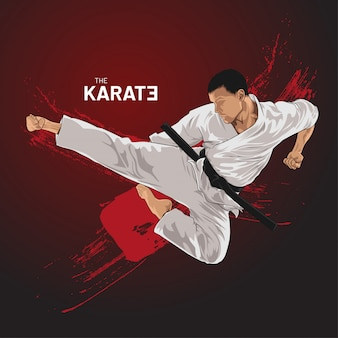 Karate athlete kick flying