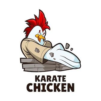 Karate chicken mascot illustration