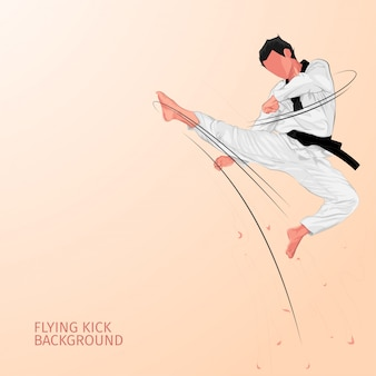 Karate flying kick background