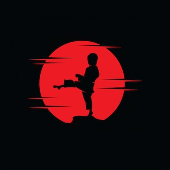 Karate kids on the red moon logo design template