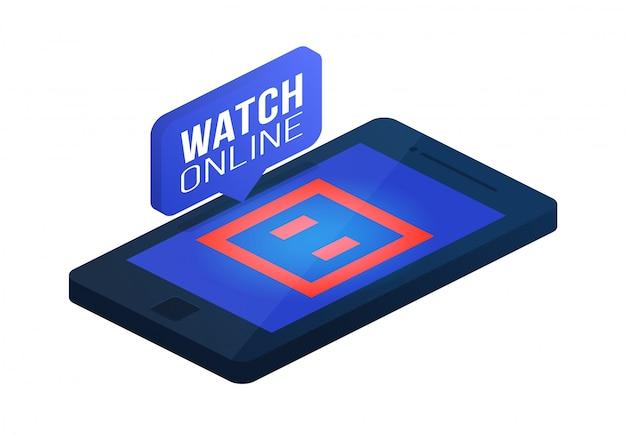 空手マット、カーペット、電話画面オンラインコンセプトアイソメ図の畳。オンライン空手、柔道、テコンドー等尺性概念。