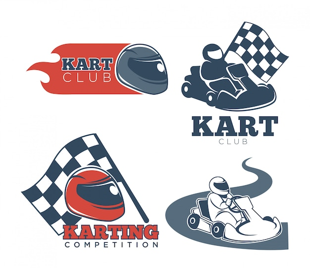 Kart club promotional emblems set with protective helmets
