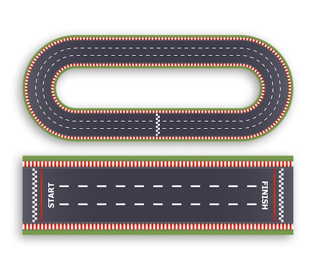 Kart race background. top view. line asphalt and circular track roads. finish and start lines.