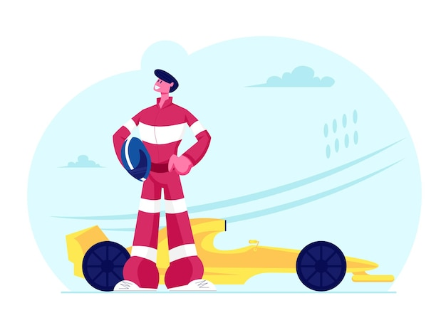 Kart racer in uniform holding helmet posing near his car on karting track. cartoon flat illustration