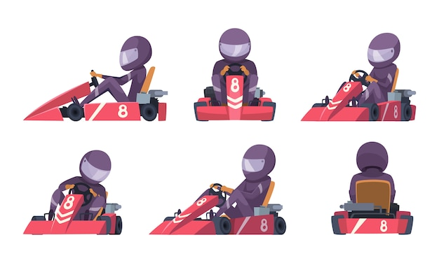 Karting car. street speed racers competition sport automobile go kart cartoon