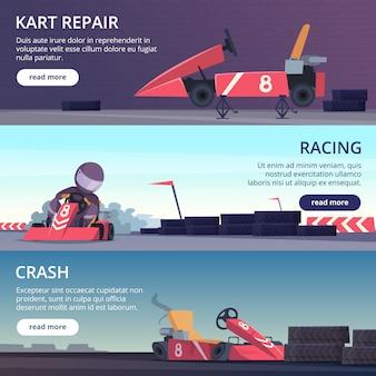 Картинг автомобилей. баннеры со спортивными картинками скоростных картинговых гоночных автомобилей векторные мультипликационные картинки