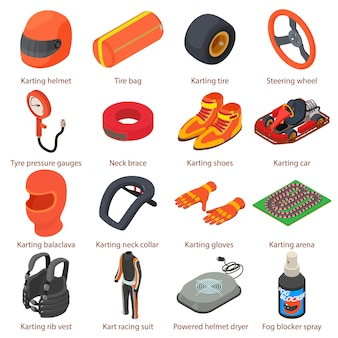 Karting equipment icons set. isometric illustration of 16 karting equipment vector icons for web