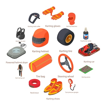 Karting equipment icons set, isometric style