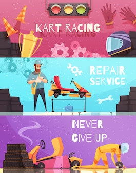 Karting horizontal banner set