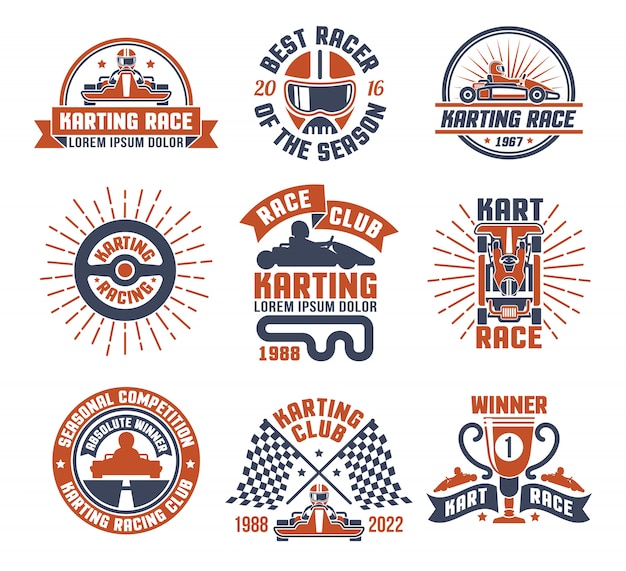 Karting motor race logo emblem set