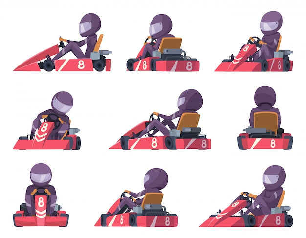 Karting racers. sport speed cars competition  karting automobile illustrations