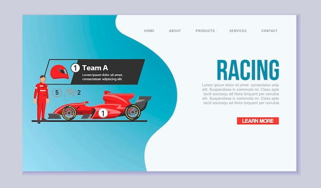 Karting racing speed cars web template illustration.