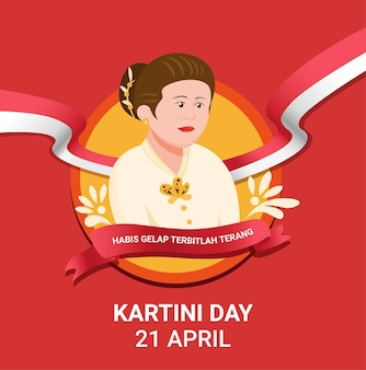 Kartini day celebration for r.a kartini a hero of women and human rights in indonesia. in cartoon flat illustration vector