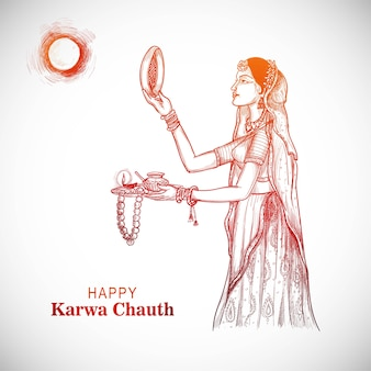 Karwa chauth festival card with indian woman